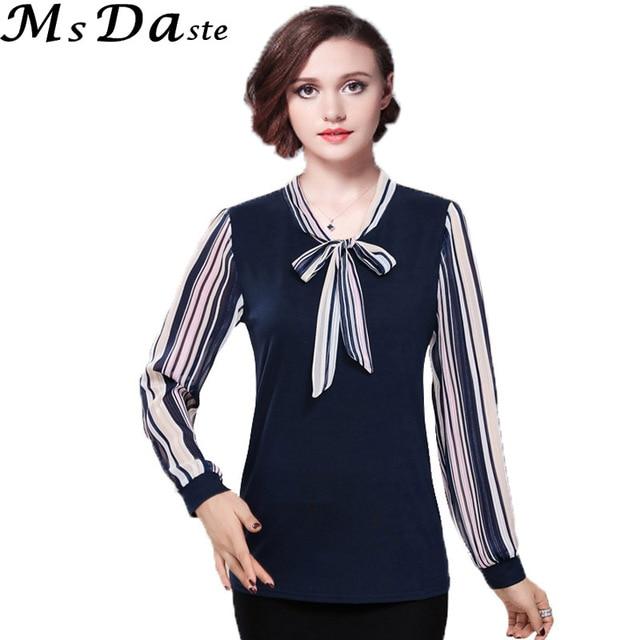 6fc03c9043e62d 2017 women tee shirts tops bow tie formal striped shirt chiffon blouse  workwear blusas blue red pink green plus size XL~4XL 5XL