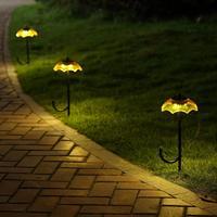 Yellow Blue Umbrella Shade Solar Light Garden Decoration LED Solar Yard Path Lamps Meadow luminaria Outdoor Solar Metal Light