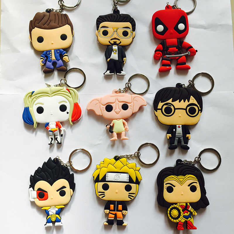 Suicide Squad Marvel Wonder Woman PVC keychain Supernatural deadpool fashion funny pendant key chain Jewelry Chaveiros Llaveros
