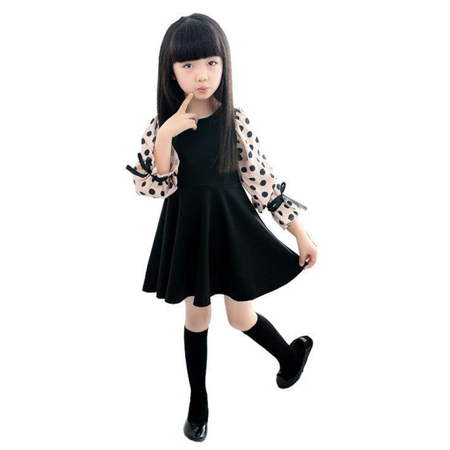 Трапециевидной формы Платья для женщин для Обувь для девочек 3 4 5 6 7 8 9 10 11 для детей 12 лет 2018 Новый длинным рукавом Хлопок Черный Обувь для девочек платье в горошек костюмы