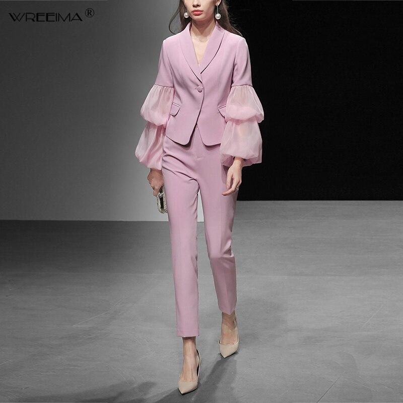 Wreeima 2019 Весенняя мода зубчатый элегантные офисные костюмы комплект с длинным рукавом Puff сетки Топ с вышивкой для женщин 2 шт. карандаш брючны