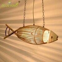 Art deco fish vintage iron pendant light e27 wood + bamboo shade vintage pendant lamp industrial lighting fixtures hanging lamp