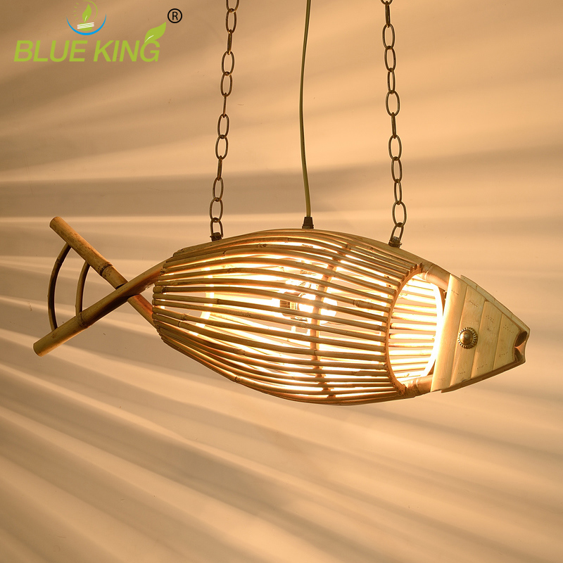 Art deco fish vintage iron pendant light e27 wood + bamboo shade vintage pendant lamp industrial lighting fixtures hanging lamp brass cone shade pendant light edison bulb led vintage copper shade lighting fixture brass pendant lamp d240mm diameter ceiling