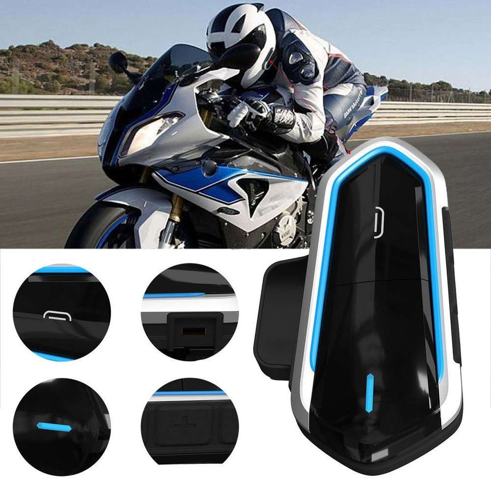 QTB35 Motorcycle Helmet Intercom Helmet For Motorcycle Helmet Interphone Motorcycle Intercom Headphones FM Radio Blue/Black