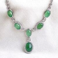 Luxo 6 pcs Natural Oval Pedra Verde Colar Pingente para as mulheres da Jóia do casamento colar De Prata Retro AAA Áustria Cristais S8