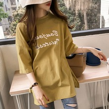 Harajuku Loose Side Split T-shirt Cotton Casual Letter Print Long Tshirt Round Neck Half Sleeve Womens Tops 2019 Summer New