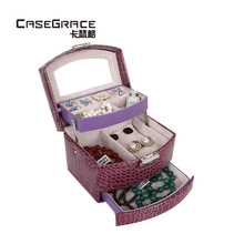 ФОТО casegrace 3 layers  jewelry storage boxes exquisite locking glossy pu leather with drawer women makeup storage bins sp01131