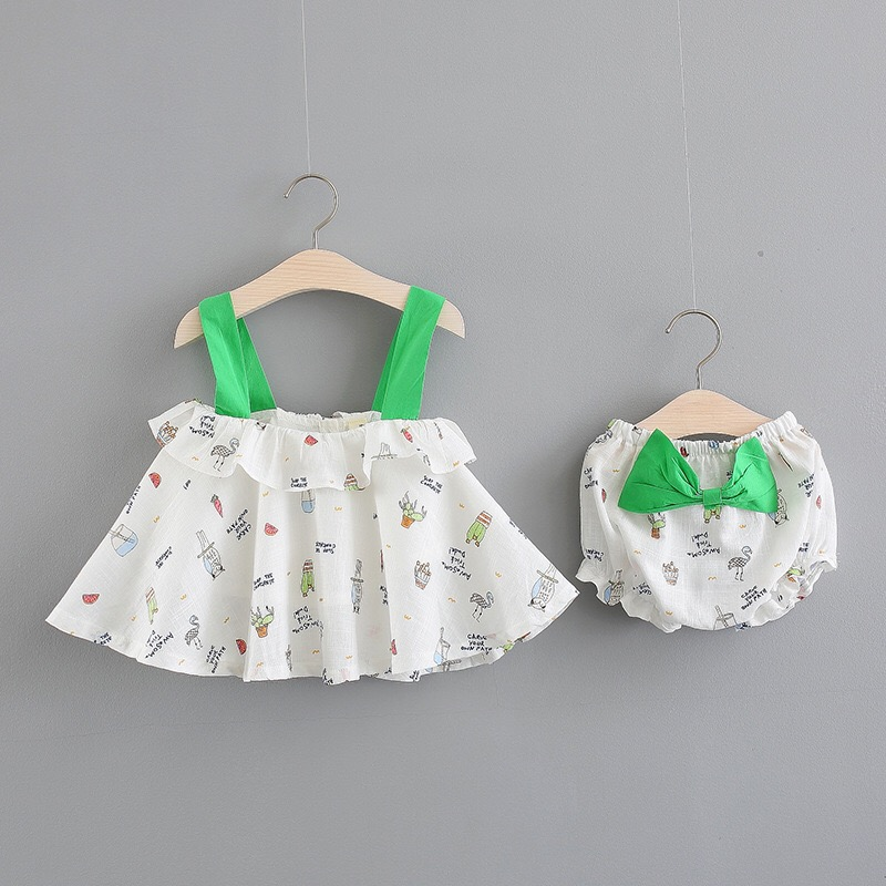 Baby girls dress Summer 0-3y Fashion Style shoulder-straps Cotton and linen Material Sleeveless DF004 Good quality baby Clothes