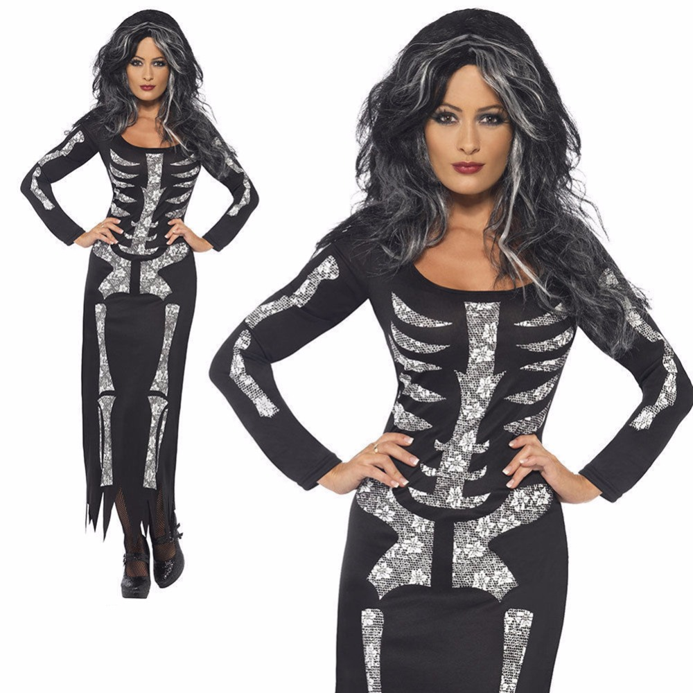 Sensfun 2018 Skull Skeleton Black Woman Dress Costumes Sleeveless Long Sleeves Sheath Bodysuit For Halloween Party Ankle-Length