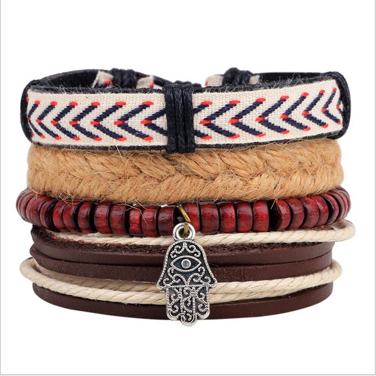 4PCS/SET Vintage Bergamot Handmade Leather Bracelets Men Punk Wide Cuff Bracelets & bangle for Women Jewelry Accessory 2016 NEW