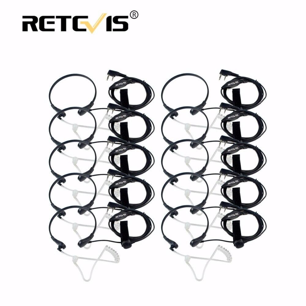 10 stücke Throat Mic PTT Hörer Covert Akustische Rohr Kopfhörer Für Kenwood Retevis RT5R H777 Für Baofeng UV5R Bf-888S Spaziergang sprechen