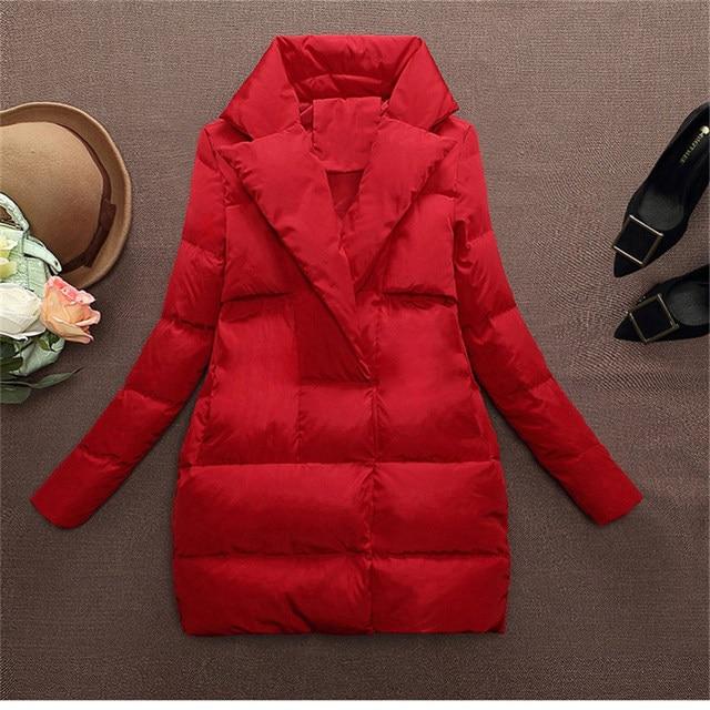 2016 das mulheres fino casaco para baixo Outono inverno pato branco para baixo jaqueta casaco quente outerwear médio-longo plus size para baixo parka AA260
