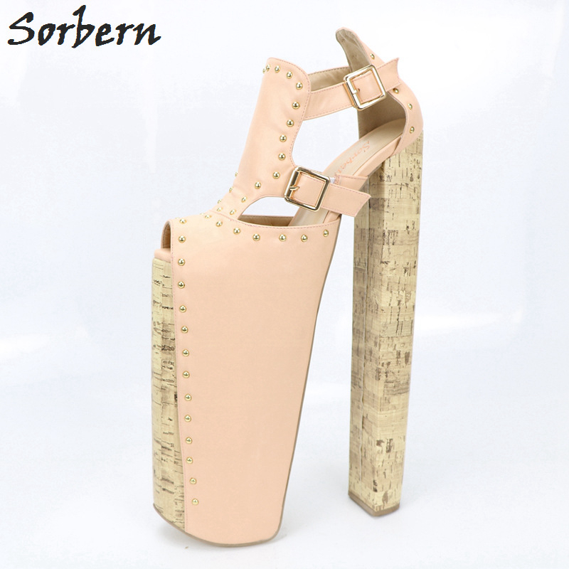 Sorbern Pink Open Toe Ultra High Heels Ankle High Sandals Platform Sandalias Mujer 2018 Women Sandals Summer Shoes Diy Colors loslandifen new ankle strap women sandals casual patent leather red high heels shoes open toe lady summer sandal mujer sandalias