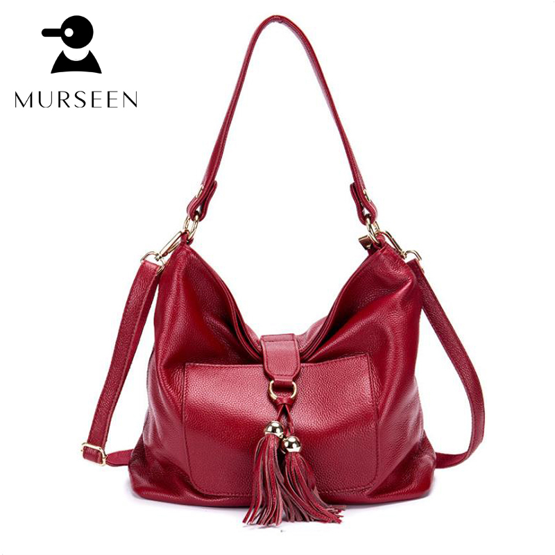 цена на 2018 Fashion Soft Real Genuine Leather real leather Tassel Women Handbag Ladies Shoulder Tote Messenger Bag totes Black Red M03