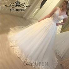 OKOUFEN Stunning White Sheer Lace Wedding Dress For Women