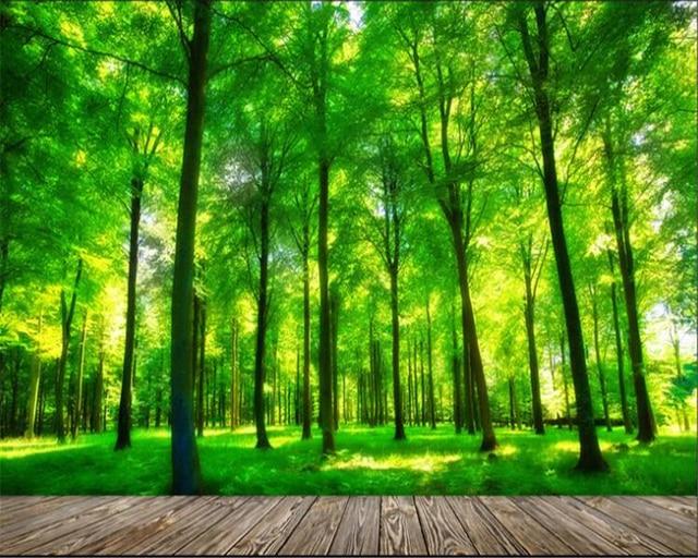 beibehang kualitas tinggi kertas dinding pemandangan alam hijau kayu