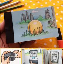 Creative Magic Flippist FlipBook for lover  DIY Propose Gift Flip Flap Book Can Hide the Marriage Ring Carton