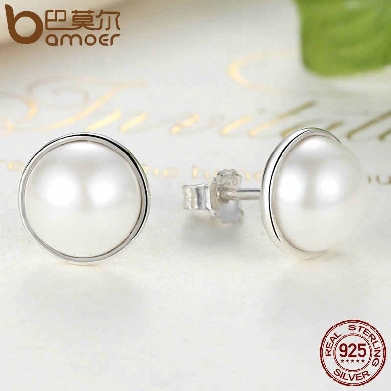 باموير موضة 925 فضة أنيقة الجمال ، أقراط اللؤلؤ الأبيض المستديرة للنساء مجوهرات الخطوبة Brincos PAS489