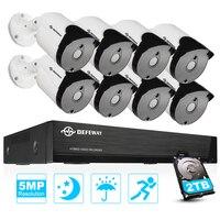 DEFEWAY 8CH HD 5.0MP 2560x1920 всепогодный H.265 + наружного видеонаблюдения Системы дома комплект видеонаблюдения 8 Камера 2 ТБ HDD