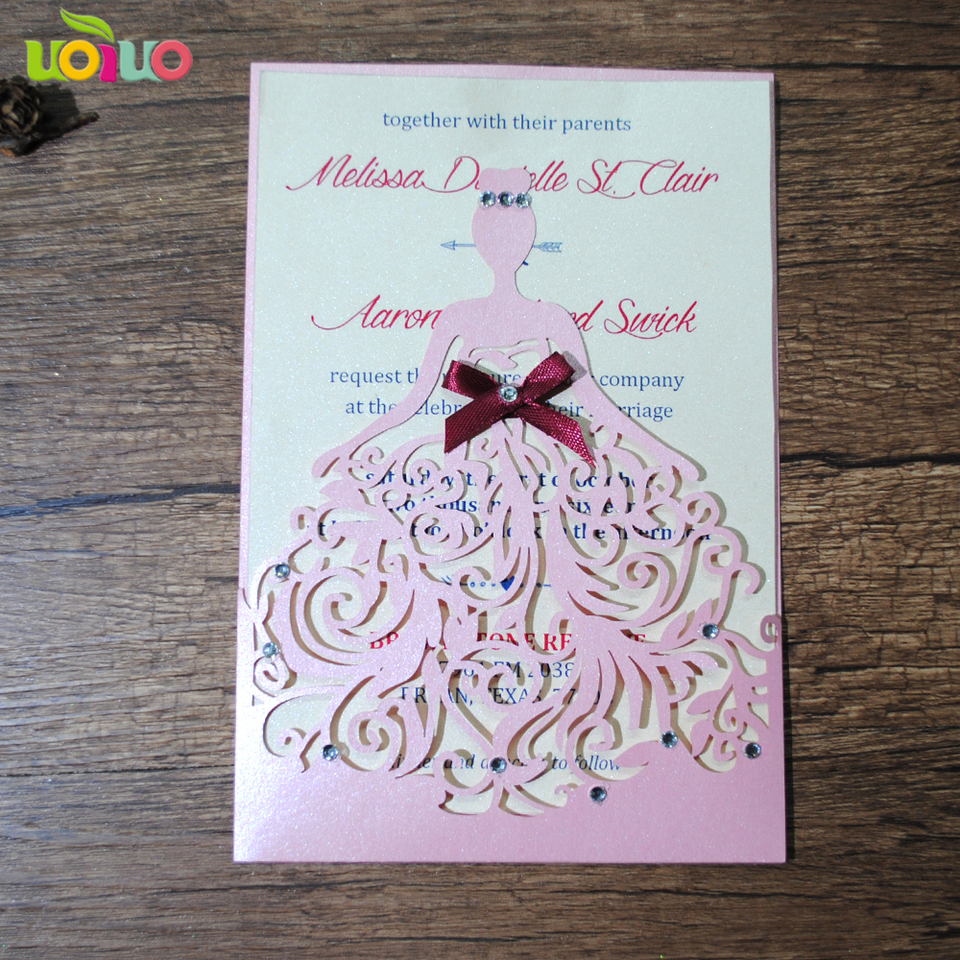 Unique Pearl Paper Invitation Card 10sets Lot Laser Cutting Blank Birthday Invitation Card