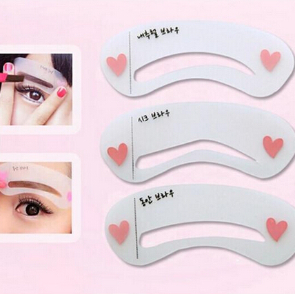 Hot 3Pcs/Set Eyebrow Trimmer Reusable Stencils Eyebrow Drawing Guide Card Brow Template DIY Make Up Tools 1