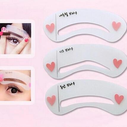 Hot 3Pcs/Set Eyebrow Trimmer Reusable Stencils Eyebrow Drawing Guide Card Brow Template DIY Make Up Tools 1