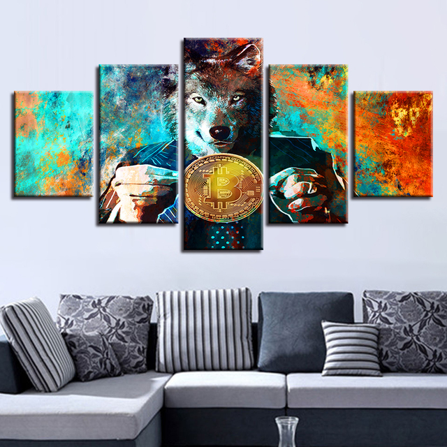 TYG Canvas HD Prints Poster Modular Wall Art 5 Pieces Mr. Wolf And Bitcoins Paintings Abstract Pictures Living Room Decor Framed