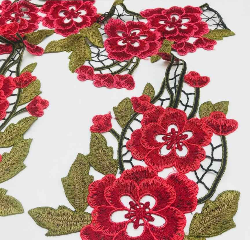 Hot Koop 1 Stuk 32*34 cm Rood Groen Elegante Bruiloft Bruids Haar Accessoires DIY Materiaal Bloem Kant Applique patches Kanten Kraag