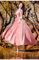 Free ship velvet stand collar embroidery vintage fairy long dress medieval dress Victorian dress