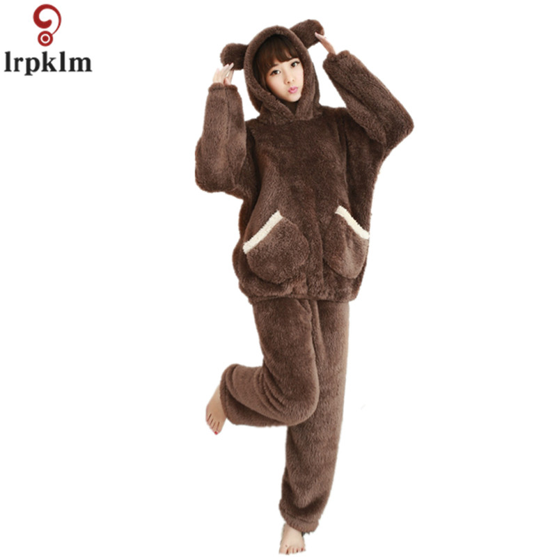 Winter Coral Fleece Female Pajamas Pants Set 2018 Winter New Warm Pajamas Thicken Women Cute Hooded Pajamas Home Wear JW249