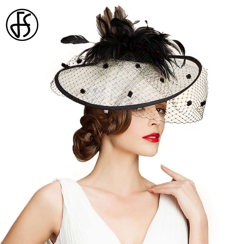 FS British Style Fascinator Wedding With Veil Feather For Women Elegant Kentucky Hat Black White Church Hats Lady Linen Fedoras