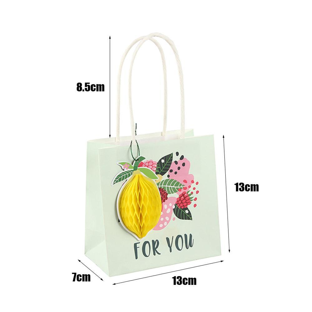 Pack of 3 Summer Fruit Paper Gift Bags Honeycomb Lemon Watermelon Kiwi Wedding Souvenir Birthday Present Wrapping Tropical Hawai in Party DIY Decorations from Home Garden