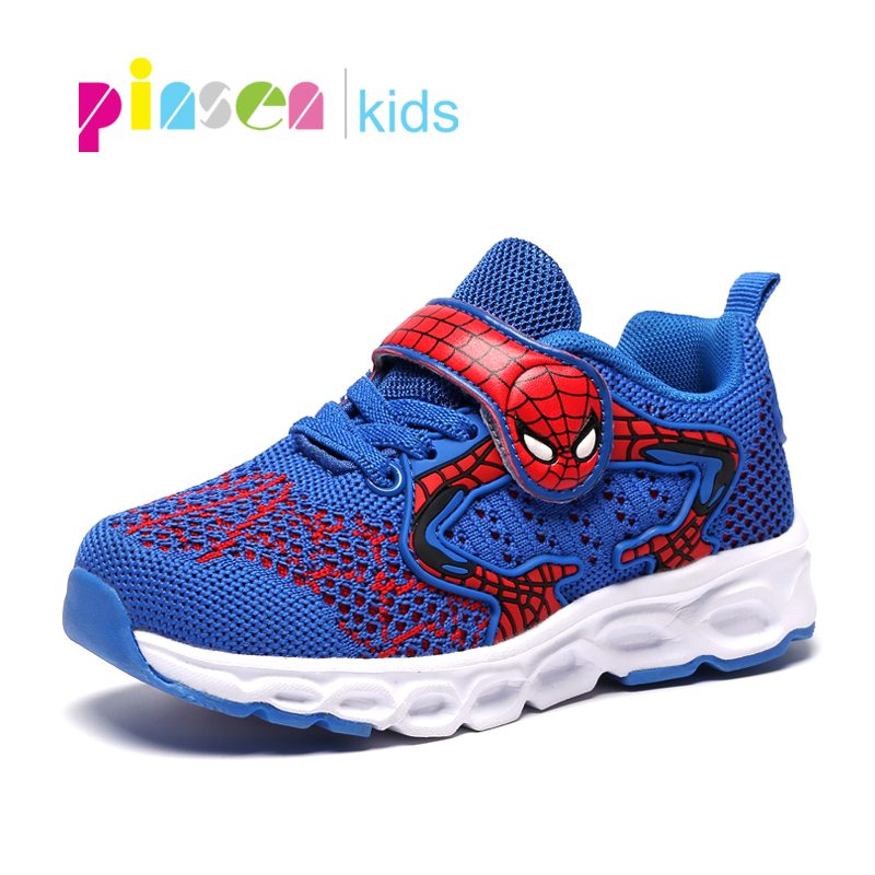 Kids Boys Girls Running Shoes Trainers LED Spiderman Shockproof School Sports