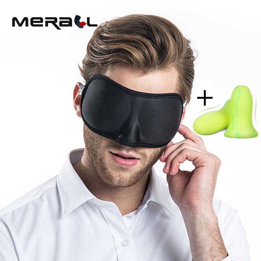 Portátil 3D dormir máscara de ojo sombra máscara para dormir suave ajustable venda en los ojos antifaz de viaje parche + oído tapones
