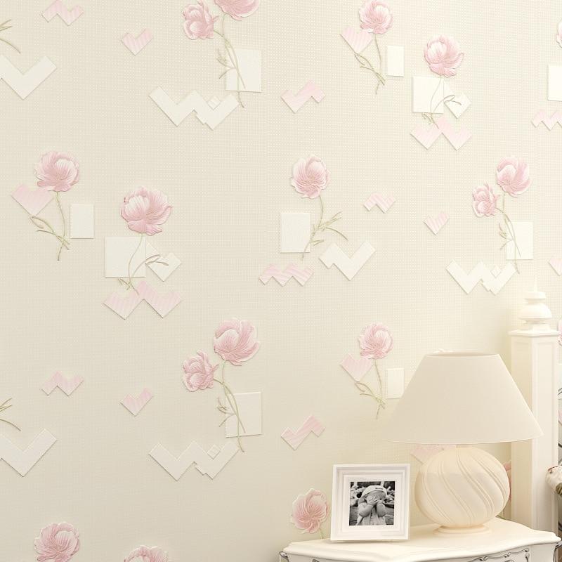 ФОТО beibehang papel de parede Fine pressure 3d three - dimensional rural flowers wallpaper non - woven bedroom living room TV