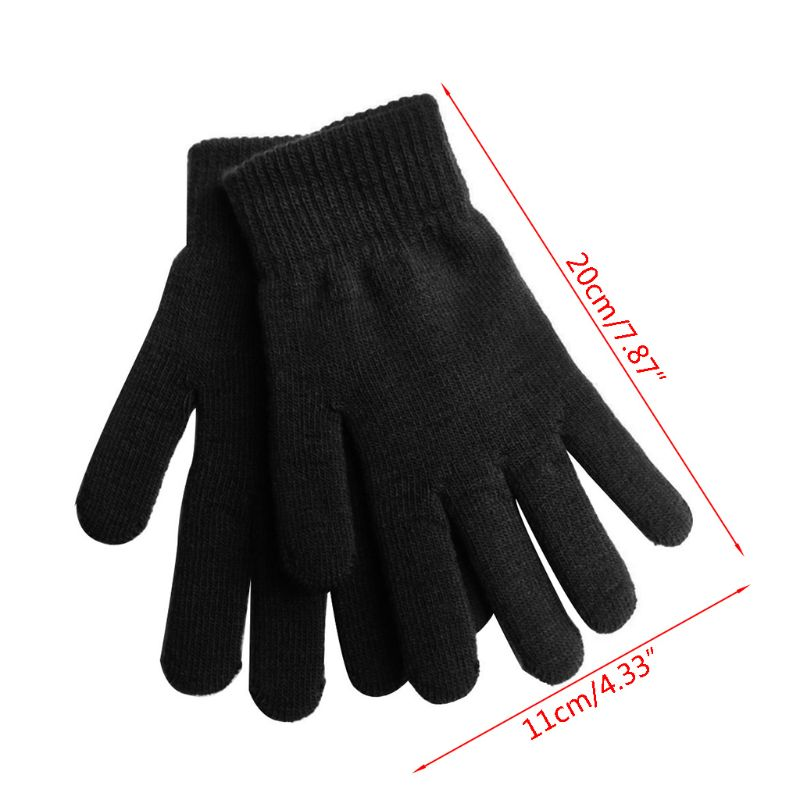 Women Men Unisex Winter Ribbed Knitted Full Fingered Gloves Basic Thicken Plush Lining Mittens Magic Thermal Wrist Warmer in Men 39 s Gloves from Apparel Accessories