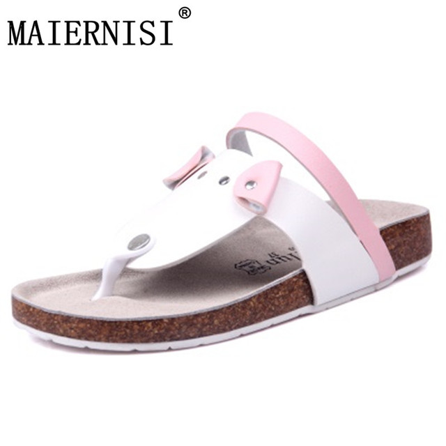 6ad1d49dd56c7 2018 New style cork women s summer shoes Flat with sandals female slippers  cartoon casual wear non-slip beach Flip Flops