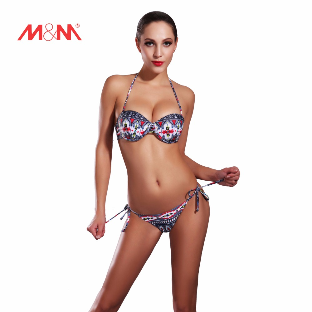 2016 Vintage Printed Bikini Swimsuit Side Tie Sexy Bathing Suit Charm Bikini Set Swimwear Biquini Maillot De Bain SAKJ1635HUS winshiden women sexy bikini set vintage swimwear floral biquini flower printed swimsuit bathing suit swimming cloth 1492