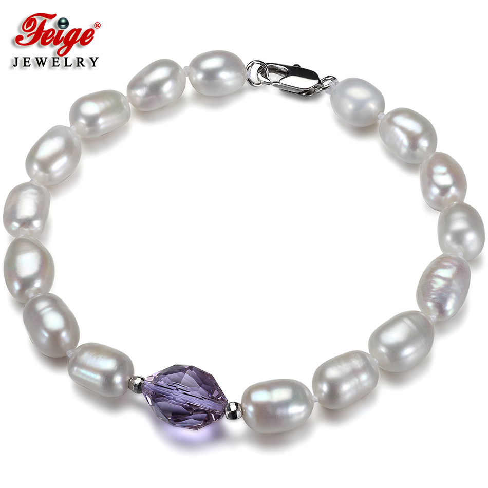 Trendy Natural Baroque Pearl Bracelet for Lady Gifts 7-8MM Freshwater Pearls Purple Crystal Strand Bracelets Fine Jewelry FEIGE 8mm crystal translucent pearl bracelet