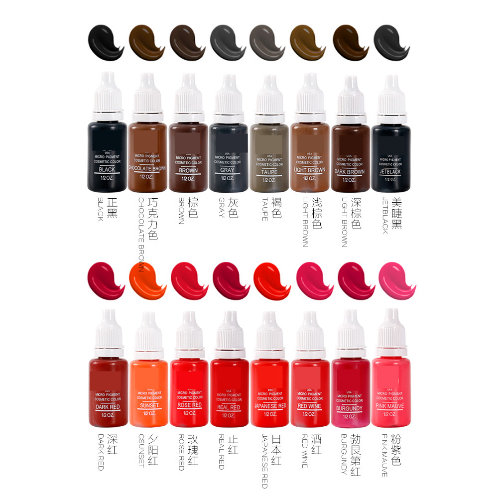 12piece/lot Professional Tattoo Ink Pigment 15ML 12 Colors for Permanent Eyebrow Lip Makeup Tattoo Machine12piece/lot Professional Tattoo Ink Pigment 15ML 12 Colors for Permanent Eyebrow Lip Makeup Tattoo Machine
