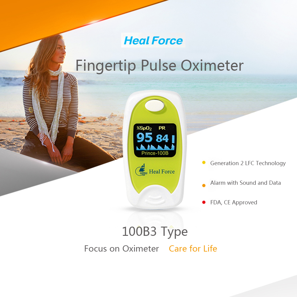 Blood Pressure Heal Force Medical Oled Fingertip Pulse Oximeter Blood Oxygen Saturation Monitor Spo2/pr/pi Detect Oximetro Alarm With Pouch