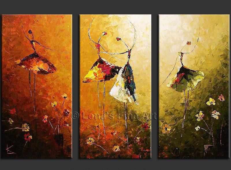 100% Hand Paint Abstract 3 Panel Canvas Art Ballet Dancer