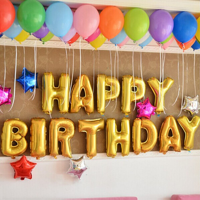 13 Letters Silver Gold Wholesales Price Aluminum Foil Membrane Happy Birthday Alphabet Party Balloons
