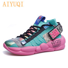 AIYUQI  Girl fashion sneakers 2019 latest women shoes flat Breathable socks spring summer for