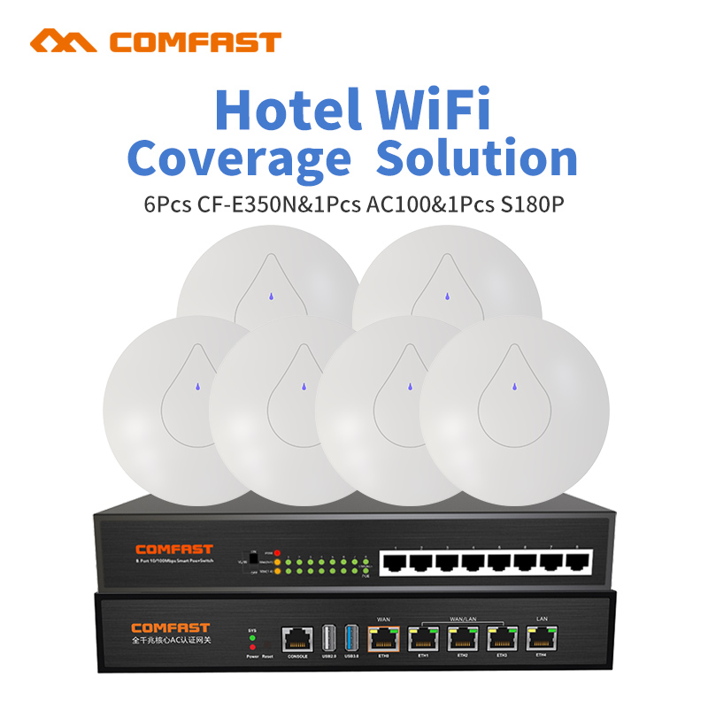 2.4G Seamless Wifi AC Management Router With Powerful Ceiling AP Poe Switch for Restaurant and shop Comfast Wireless Wifi Cover comfast wireless indoor ap 1200mbps gigabit ceiling ap 802 11ac wifi signal booster wifi expander wi fi routers rj45 poe adapter