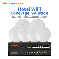 Hotel Wifi Coverage Solution 300Mbps 2.4G Poweful Wireless Access Point Open DD WRT AP + 8 port poe switch +1 AC Manage Router