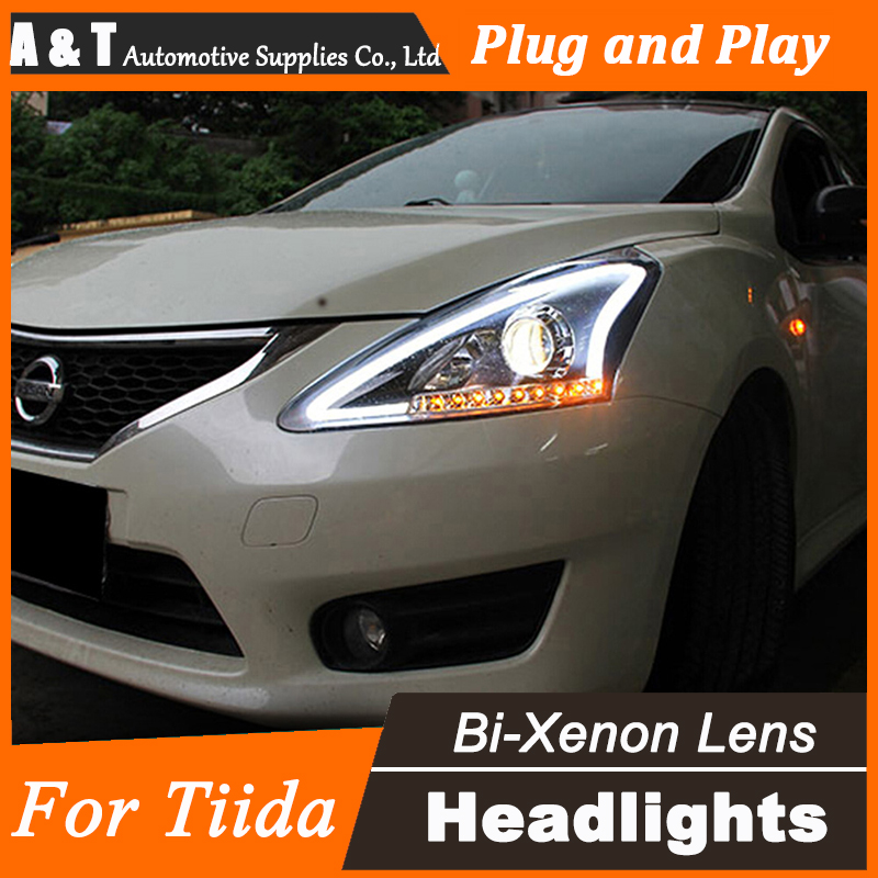 Car Styling for Nissan Tiida LED Headlight assembly New Tiida Headlights DRL Lens Double Beam H7 with hid kit 2 pcs. hireno headlamp for 2013 2015 nissan tiida headlight assembly led drl angel lens double beam hid xenon 2pcs