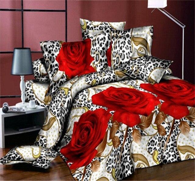 Uihome Blume Luxus Königin Größe 3d Bettwäsche Setbettwäsche Rot