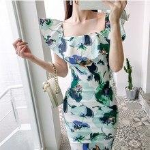 2019 Hot Sale Floral Print Slash Neck Party Dress Casual Summer Ruffles Short Sleeve Midi Dresses
