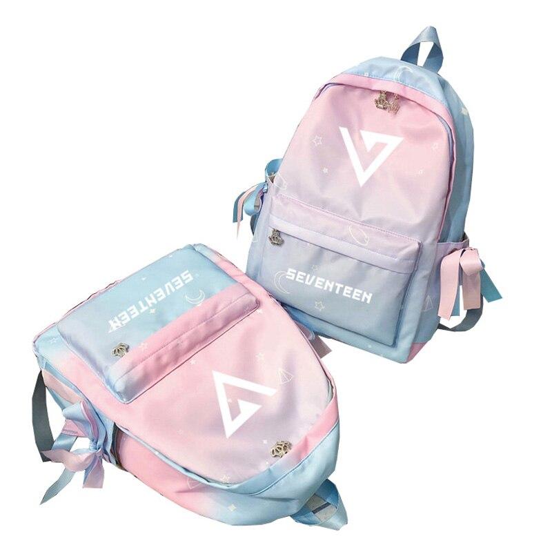 Korean Kpop Group SEVENTEEN Printing Backpack Women Pink Bagpack Waterproof Travel Backpack Nylon School Bags For Teenage Girls
